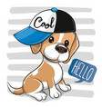 artoon dog beagle in a cap on a on a striped vector image vector image