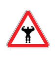 attention bodybuilding athlete on red triangle vector image