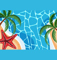 background scene with blue ocean and starfish vector image vector image