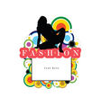 banner fashion with girl silhouette siting vector image vector image