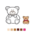 bear coloring by number vector image