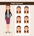 beautiful lady with set expression vector image