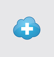 Blue cloud plus icon vector image vector image