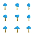 blue tree set vector image