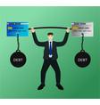 businessman lifting barbell credit card debt vector image vector image