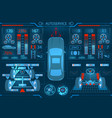 car service scanning graphical interface vector image vector image