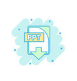 cartoon colored ppt file icon in comic style ppt vector image vector image