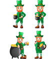 cartoon leprechaun collections set vector image vector image