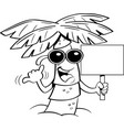 cartoon palm tree wearing sunglasses and holding a vector image vector image