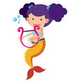 cute mermaid playing harp vector image vector image