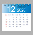 december 2020 monthly calendar template vector image