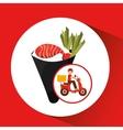 delivery boy ride motorcycle temaki food japanese vector image vector image