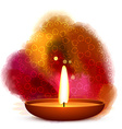 diwali diya placed in water color background vector image vector image