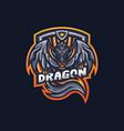 dragon esport gaming mascot logo template vector image