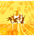 Fancy orange background with silhouettes of dancer vector image