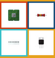 flat icon device set of unit memory resistance vector image vector image