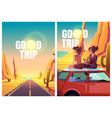 flyers with girls sitting on car roof in desert vector image vector image