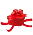 Gift box in the shape of a heart with a red bow on vector image vector image