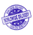 grunge textured worldwide delivery stamp seal vector image vector image