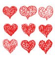 heart icons hand drawn sketch set for valentines vector image