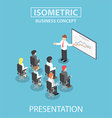 Isometric businessman giving a presentation in a c vector image vector image