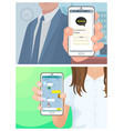 kakaotalk korean messenger people with phones vector image