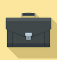leather briefcase icon flat style vector image vector image