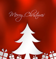 merry christmas card with tree and box gifts vector image