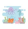 octopus seahorse crab life coral reef cartoon vector image vector image