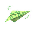 paper airplane of dollars flying money vector image