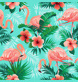 pink flamingos exotic birds tropical palm leaves vector image vector image