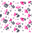 pink floral pattern on white with branches vector image
