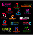 r icons modern color corporate identity design vector image vector image