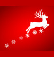 reindeer is skipping for christmas icon on red vector image vector image