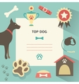 Retro dog template with profile canine full collar vector image vector image