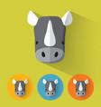 rhino portrait with flat design vector image