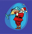 santa claus drinks champagne comic cartoon pop vector image