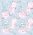seamless pattern hand drawn pink peony flowers vector image vector image