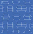 seamless pattern with armchair sofa couch vector image vector image