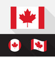 set canada flag flat design vector image vector image