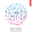 set of beach modern flat thin icons inscribed