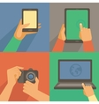 set of flat icons - mobile phone laptop vector image