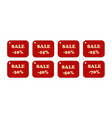 set of price tags yellow text on red textural vector image