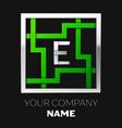 silver letter e logo symbol in the square maze vector image vector image