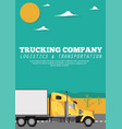 trucking company banner with container truck vector image vector image