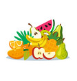 variety fruits together fruit mix vector image vector image