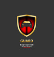 vehicle icon luxury shield auto car gold guard vector image