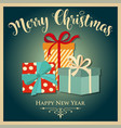 vintage christmas card with presents vector image vector image