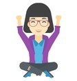 Woman sitting with crossed legs and raised hands vector image