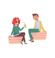 young girl and guy siting outdoor and laughing vector image